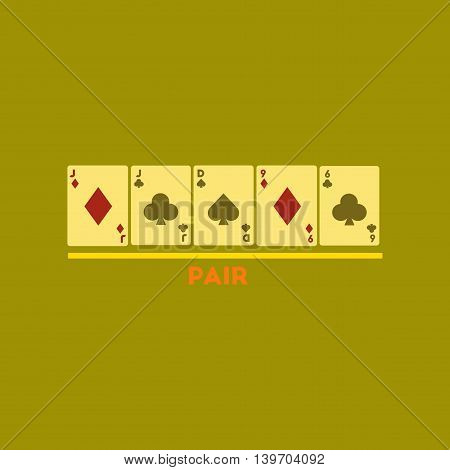 flat icon on stylish background poker pair cards