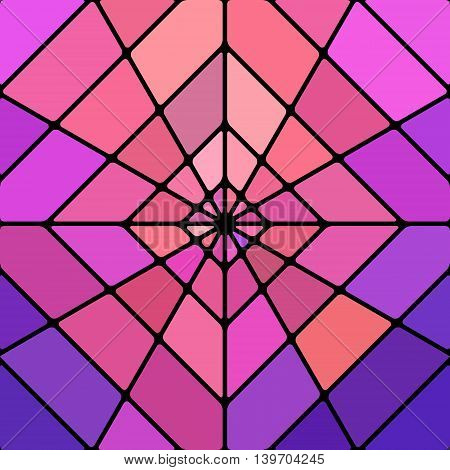 abstract vector stained-glass mosaic background - purple and violet rhombus