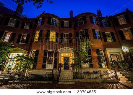 Historic Brick Homes In Beacon Hill At Night, In Boston, Massachusetts.
