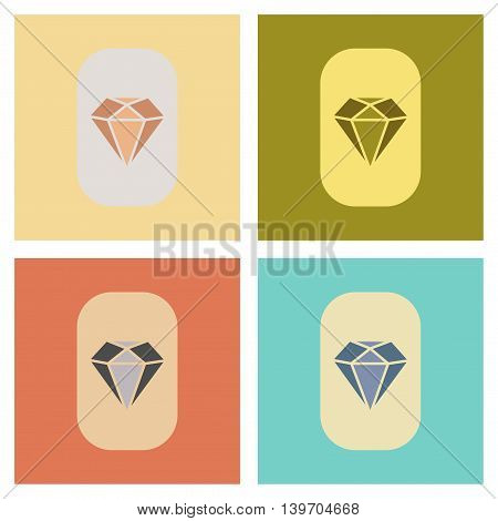 assembly of flat icons poker diamond symbol