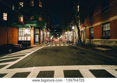 Intersection In Beacon Hill At Night, In Boston, Massachusetts.