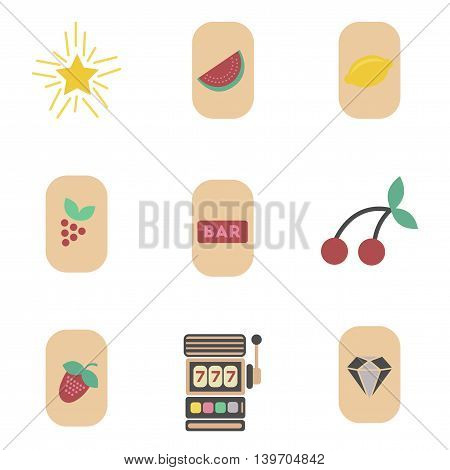 assembly of flat icons casino poker symbols