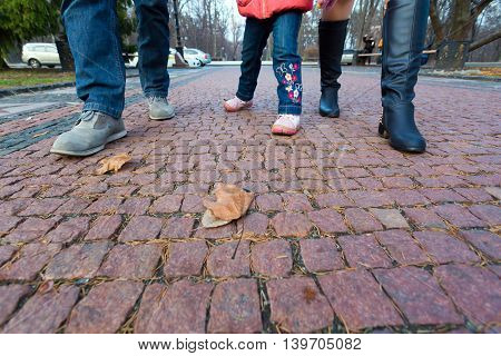 Legs and Feet of young Family Walking on paved Park Alley at Autumnal Park Father Mother Child