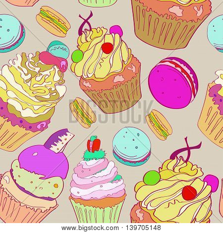 illustration with the image of cakes. Bright multi-colored pattern on a gray background