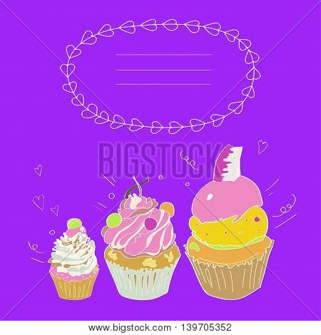 Illustration depicting three cakes and a framework for the text on a bright purple violet background