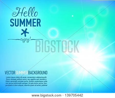 Summer background with a magnificent sun burst with lens flare. Hot with designed text. Vector illustration.