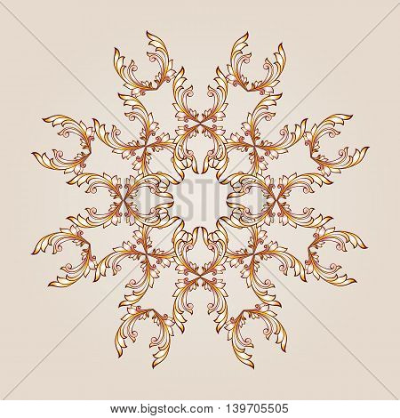 Flower pattern of brown henna on beige the background