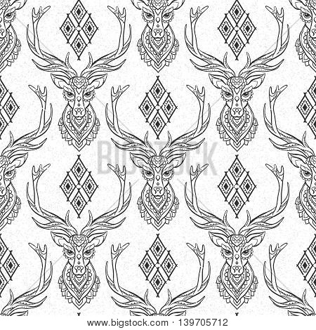 Ornament deer vector pattern. Beautiful illustration tracery for design, print clothing, stickers, tattoos, Adult Coloring book. Hand drawn animal illustration. Bohemian lace