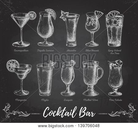 Vintage chalk drawing cocktail bar menu. Sketch art