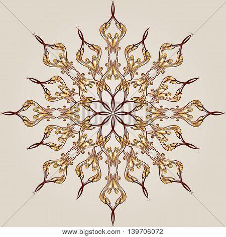 Flower round pattern of brown and gold henna on beige background