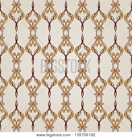 Vertical seamless floral pattern of brown henna on beige background