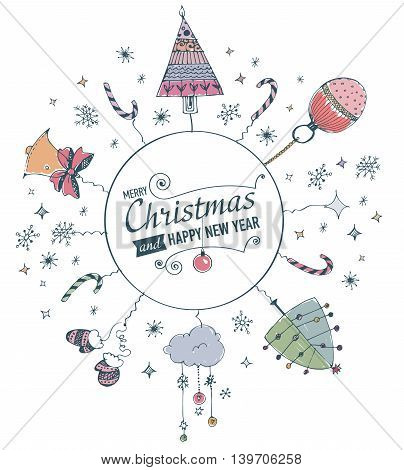Merry Christmas and Happy New Year Card with hand drawn doodles. Vector illustration.