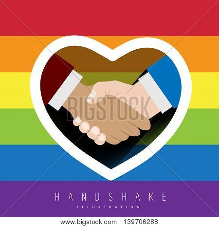 Close up of handshake with rainbow colors for gay pride. Vector illustration