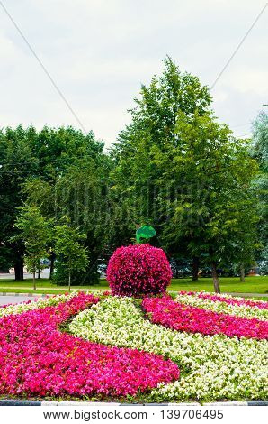 Flowers.Street landscaping in cloudy day- flowerbed with landscaping element in form of big apple covered with pink begonia flowers. Unusual funny landscaping in the summer park.
