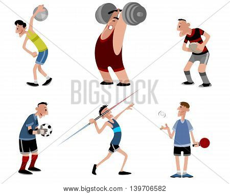 Vector illustration image of a six athletes set