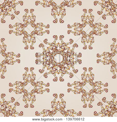Pattern seamless floral of brown henna on beige background