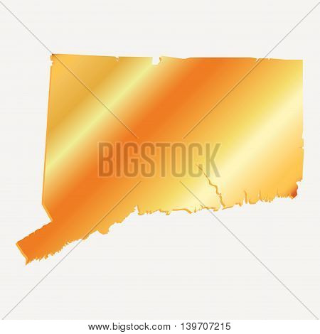 3D Connecticut (USA) Gold outline map with shadow