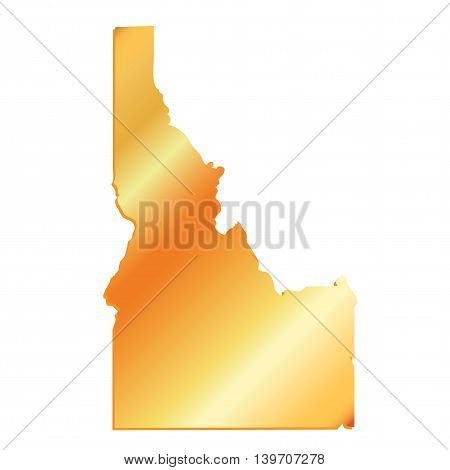 3D Idaho State USA Gold outline map