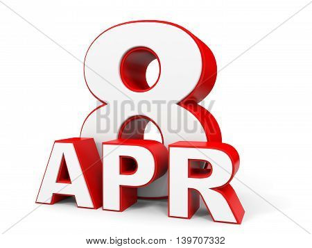 April 8. 3D Text On White Background.