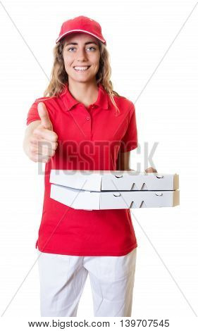 Laughing caucasian pizza delivery woman on an isolated white background for cut out
