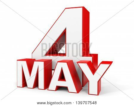 May 4. 3D Text On White Background.