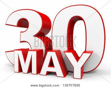 May 30. 3D Text On White Background.