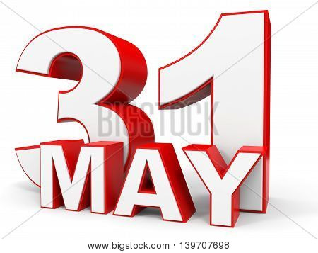 May 31. 3D Text On White Background.