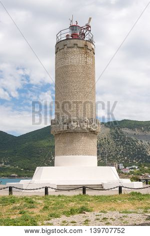 Big Utrish, Russia - May 17, 2016: Monument To The Lighthouse On The Island Of Utrish, Built In 1975