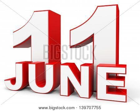 June 11. 3D Text On White Background.