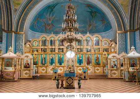Dubovyj Ovrag, Russia - February 20, 2016: Interior Inside The Church Of The Holy Martyr Nikita, Loc