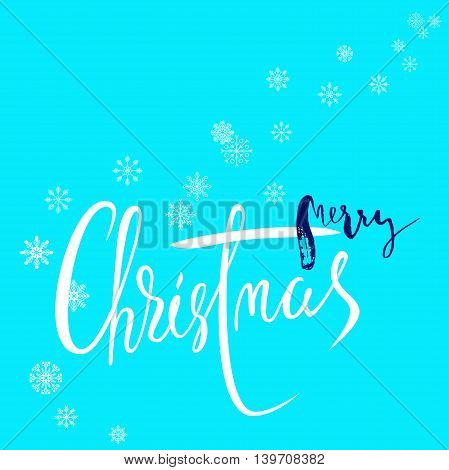 Snowflake blue winter background. Handdrawn grunge lettering. Merry christmas. EPS10