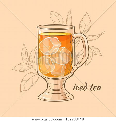 vector illustration with cup of iced tea on color background