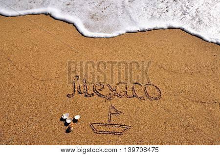 The Mexico sign in the sand beach