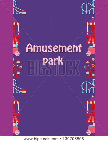 Poster Amusement Park.  Attractions on the purple background. Vector illustration