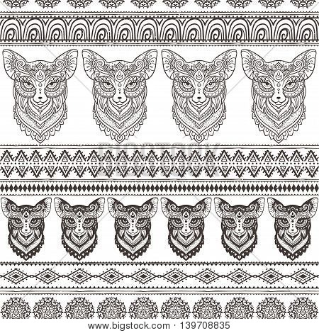 Ornament fox vector patter. Beautiful illustration fox for design, print clothing, stickers, tattoos, Adult Coloring book. Hand drawn animal illustration. Bohemian lace