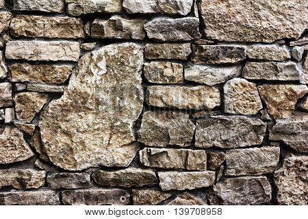 Background texture of a wall built of stone toned photo