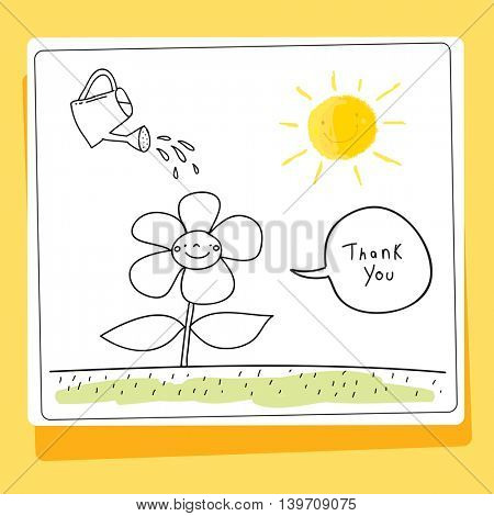 Kids thank you card vector illustration. Watering can, watering a flower on a sunny day. Sketch, scribble style doodle.