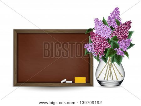 Illustration of blank dusty chalkboard with chalks and eraser and bouquet of lilac flowers in glass vase isolated