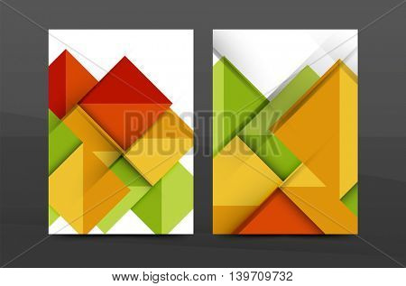 Geometric abstract background. Color business brochure cover vector template, annual report front page, A4 size, leaflet, magazine design, flyer layout