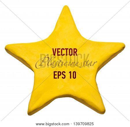 Yellow Plasticine star for your design. Vector illustration