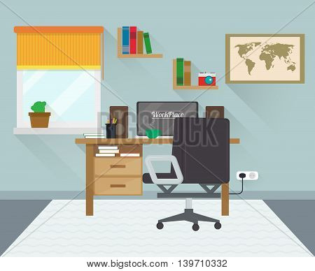 Modern workplace in room. Workspace creative theme. Flat minimalistic style. Flat design with long shadows. Vector illustration