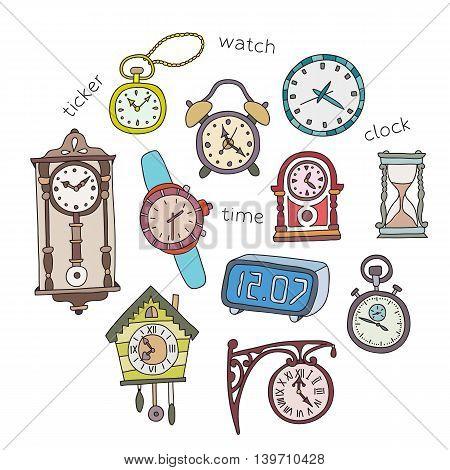 Illustration of doodle clocks. Vector design elements.