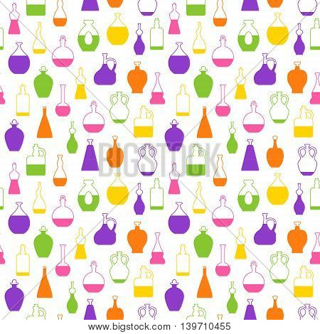 Seamless Vector Pattern With Wine Bottles.