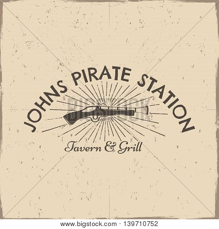 Vintage pistol label, pirate poster. Old ammunition with grunge effects and sun bursts. Retro hand made style isolated on a scratched paper background. For tee design, t-shirt, web projects
