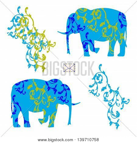 Envelope with elephants.Funny original creative vector illustration for web design and Polygraphy