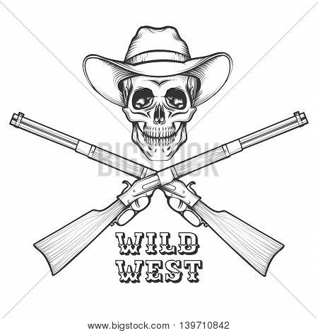 Skeleton in a cowboy hat with Old Rifles. illustration in engraving style.