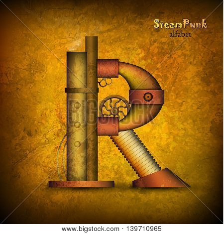 Steam punk letter. Realistic design. Vector illustration.