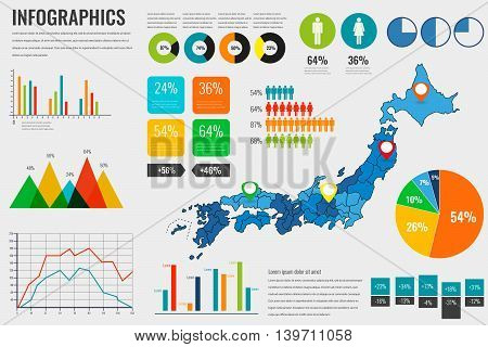 Japan map with Infographics elements. Infographics layouts. Vector illustration