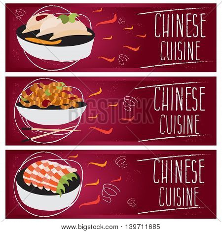 Set Of Banners For Theme Chinese Cuisine With Different Tastes Flat Design. Vector Illustration