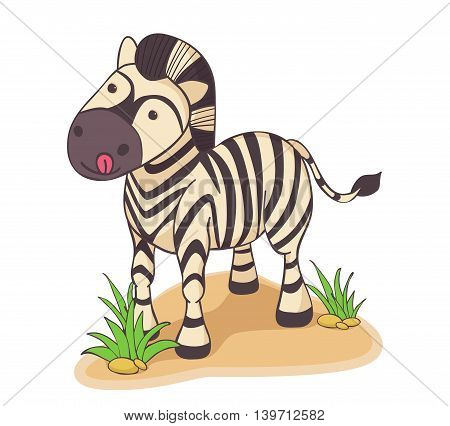 Hand drawn Zebra licked now will eat grass
